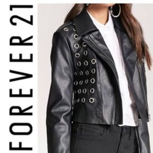 Faux Leather Crop Grommet Moto Jacket Forever 21